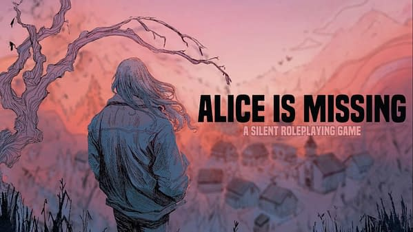 "The header for Alice Is Missing, a ""silent role-playing game,"" by Hunters Entertainment."