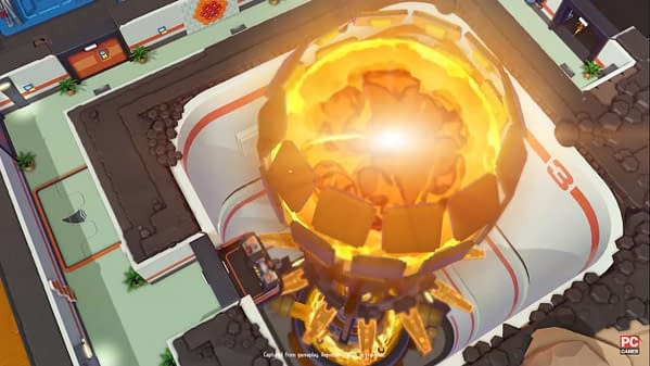 A shot of a world-threatening death ray from Evil Genius 2: World Domination, developed and published by Rebellion.