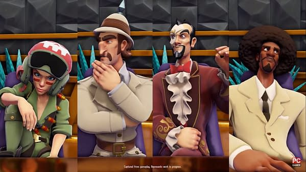 A shot of the henchmen and henchwomen in the throes of the player's hiring process in Evil Genius 2: World Domination, by game developer and publisher Rebellion.