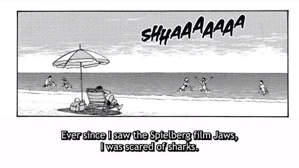 A still from the Crunchyroll interview showcasing a scene from Junji Ito's manga Gyo, with Ito telling Tim Lyu about his fear of sharks.