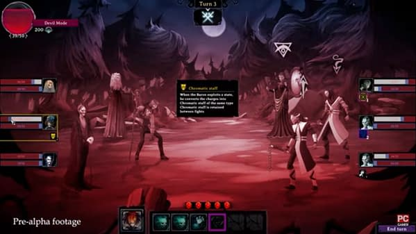 A shot from the trailer of the soul-resource mechanic in action in Rogue Lords, a roguelike strategy game by Nacom, Cyanide Studios, and Leiklr Studios.