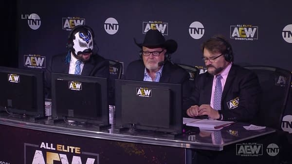 Excalibur, Jim Ross, and Tony Schiavone on AEW Dynamite (Image: AEW)