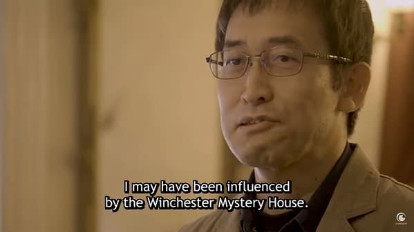 Another still from the Crunchyroll interview, wherein Junji Ito explains his inspiration for the spiral-stretching nagaya in his manga Uzumaki.