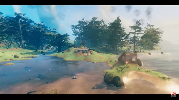 A stunning preliminary shot of the environmental graphics of Valheim, an indie game by Coffee Stain and Iron Gate Studios.