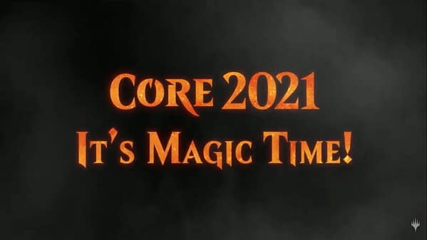 """The logo and tagline for Core 2021, the new set for Magic: The Gathering. """"It's Magic Time!"""""""