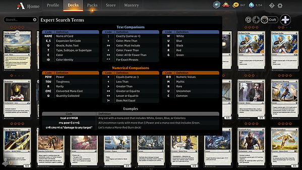 The new and improved interface for Magic: The Gathering Arena's deck builder tool.