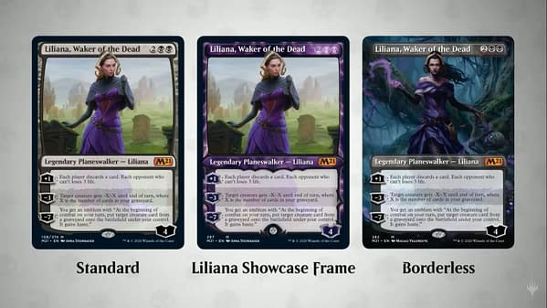 Liliana, Waker of the Dead's various versions from Core 2021 for Magic: the Gathering.