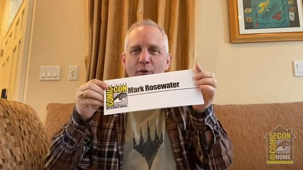 A still from the San Diego Comic-Con panel featuring Magic: The Gathering's Head Designer, Mark Rosewater.