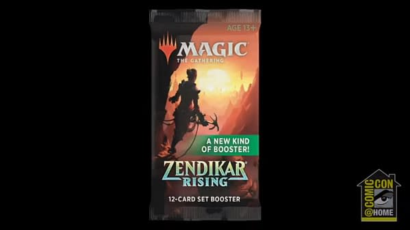 Another still from the San Diego Comic-Con panel, showcasing a Set Pack wrapper from Zendikar Rising, the new expansion set for Magic: The Gathering.