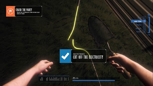 A screenshot from the simulation game Party Crasher Simulator by indie developer and publisher Glob Games Studio. The screenshot depicts the player's character cutting off the electricity to a house having a party.