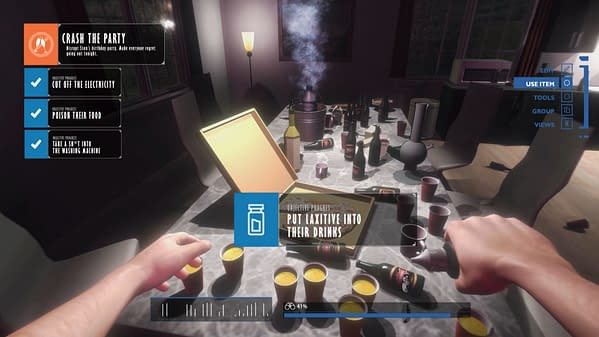 Another screenshot from Party Crasher Simulator, wherein the player character laces partygoers' drinks with laxatives.