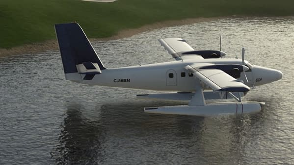 Who puts a plane in the middle of a water hazard? You do in Course Designer! Courtesy of 2K Games.