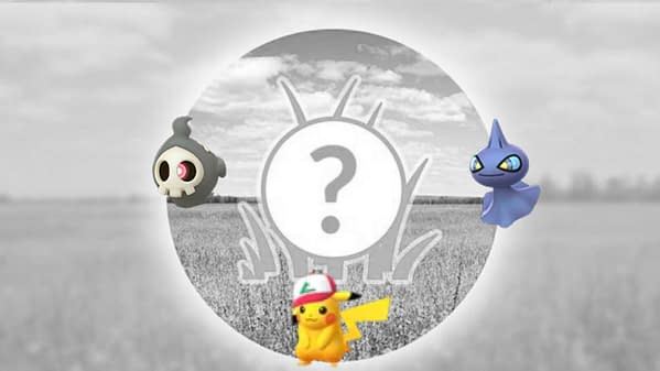 Pokémon GO's spotlight hour graphic with the October spawns of Pikachu, Duskull, and Shuppet. Credit: Niantic