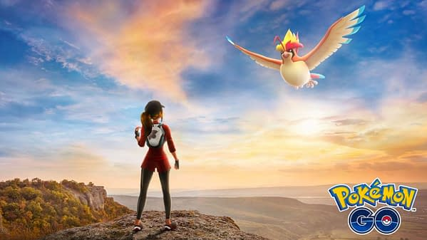 A Pokémon trainer and her Mega Pidgeot in this ad for the Mega Buddy Challenge. Credit: Niantic