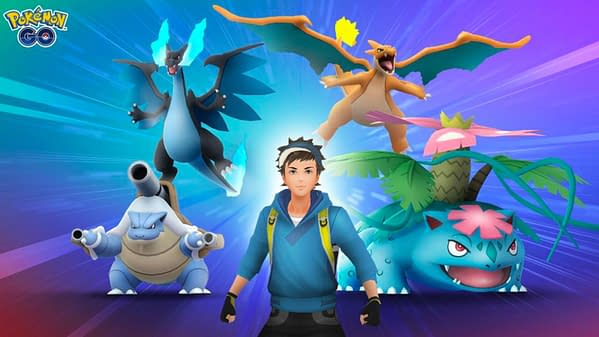 A Pokémon trainer with four Pokémon who he has made his Mega Buddy in Pokémon GO for the Buddy Event. Credit: Niantic