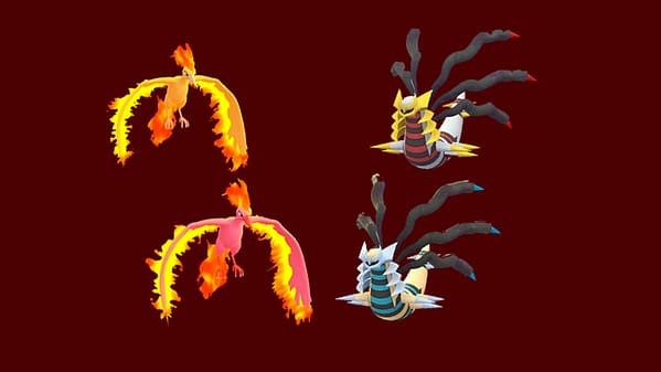 Moltres and Giratina Origin Forme regular and Shiny comparisons in Pokémon GO. Credit: Niantic