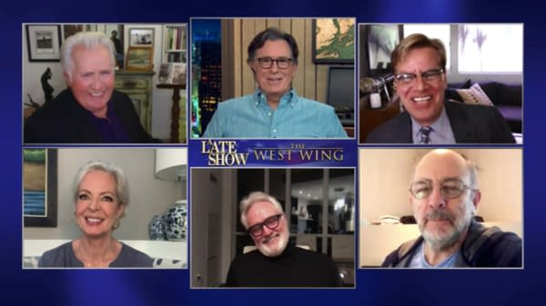 The West Wing cast reunites On The Late Show with Stephen Colbert (Image: ViacomCBS)