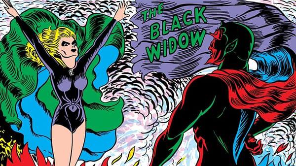 Mystic Comics #4 Black Widow panel detail.
