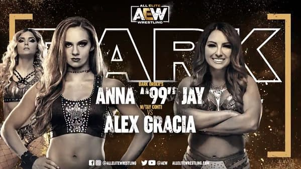 Anna Jay vs. Alex Gracia match graphic for next week's AEW Dark, airing Tuesday at 7PM Eastern on YouTube