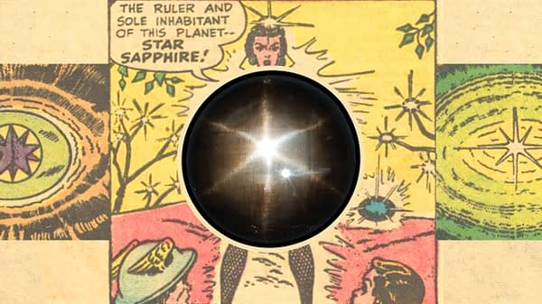 Background: Panels from All-Flash #32, DC Comics 1947/48, first appearance of Star Sapphire. Inset: A star sapphire gemstone, photo by Radiumgirls / Shutterstock.com.