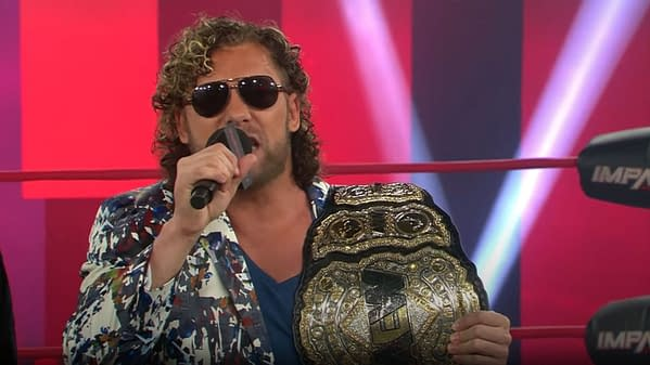 Kenny Omega cuts a promo on Rich Swann during Impact Wrestling