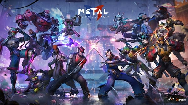 Look at that roster of people and robots just decked out in metal with no other purpose than to fight! Courtesy of Gtarcade.