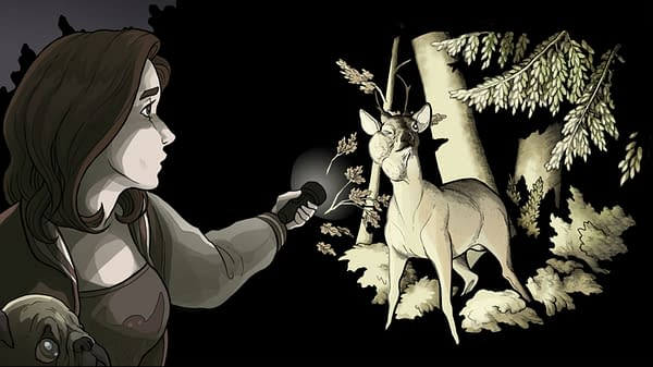 An eerie screenshot from Black Tabby Games' visual novel Scarlet Hollow, Episode 2, in which we find a deer with a strange growth on its neck.