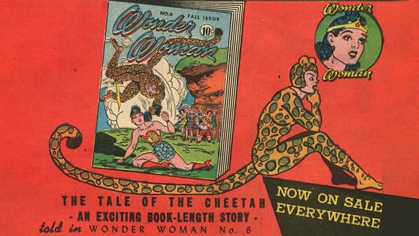 House Ad for Wonder Woman #6 featuring Cheetah from Sensation Comics #22, DC Comics 1943.