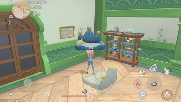 A screenshot from indie adventure/simulator game My Time At Portia, wherein a player character is seen customizing their living space.