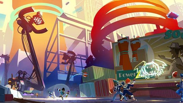 "Key art for Velan Studios' upcoming sports-combat ""dodgebrawl"" game, Knockout City."
