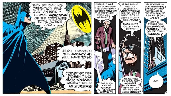 Swamp Thing #7 interior panels featuring Batman, story by Len Wein and Bernie Wrightson, DC Comics 1973.
