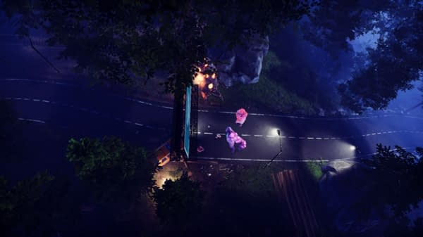 A screenshot from Flatfish Games' asymmetrical indie horror game, Monster Master. This is the aerial, real-time strategy view of the Kingsfield borderline.