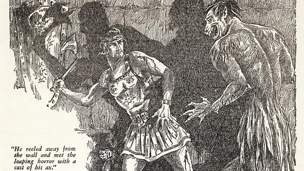 """Title page illustration for """"The Phoenix on the Sword"""" in the December 1932 Weird Tales featuring the first appearance of Conan. Artwork by J.M. Wilcox."""
