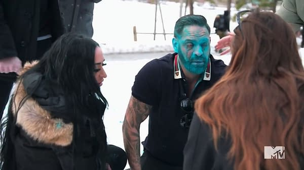 Medics tend to Chris after Angelina fired a gender reveal cannon into his face on Jersey Shore: Family Vacation