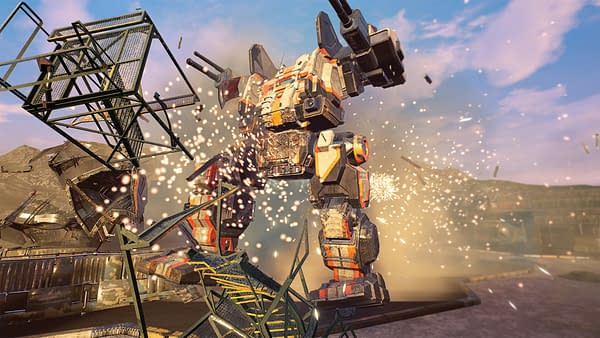 Even this photo of a mech destroying something has more energy than either company about the announcement. Courtesy of Piranha Games.