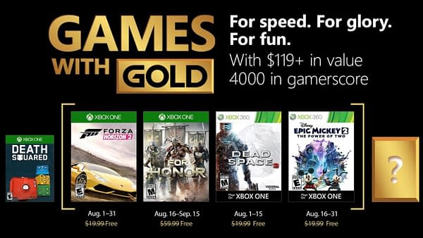 Xbox Reveals the Next Line of Titles in Games with Gold for August 2018