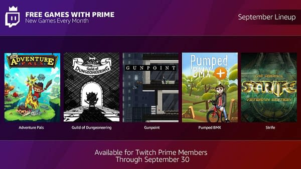Twitch Releases September's Free Games with Prime Lineup