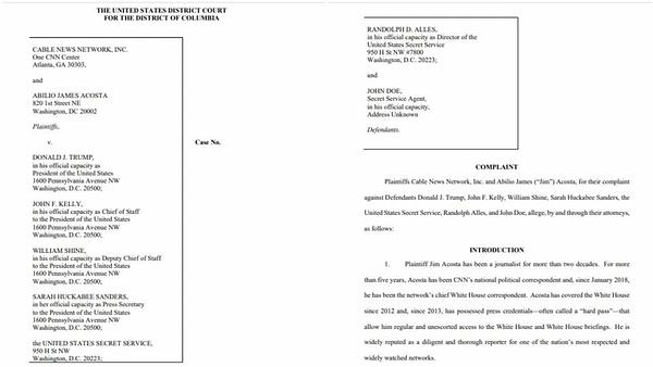 CNN Sues Trump White House to Reinstate Acosta; Alleges 1st, 5th Amendment Violations (UPDATE)