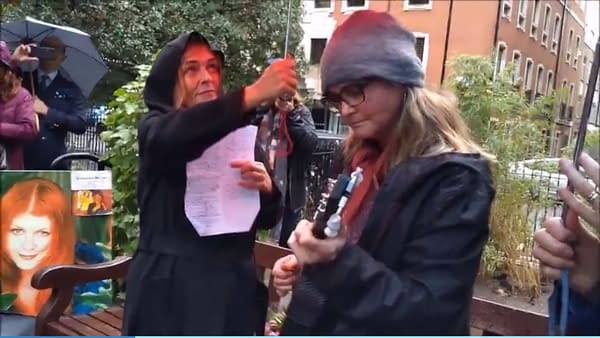 Singing in the Rain in Soho Square for Kirstyfest 2019