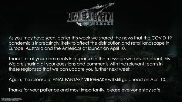 """Square Enix Unclear On Physical Release Of """"Final Fantasy VII Remake"""""""