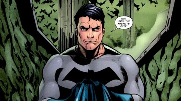 DC Comics' Bruce Wayne, in Batman costume sans cowl, deep in thought.