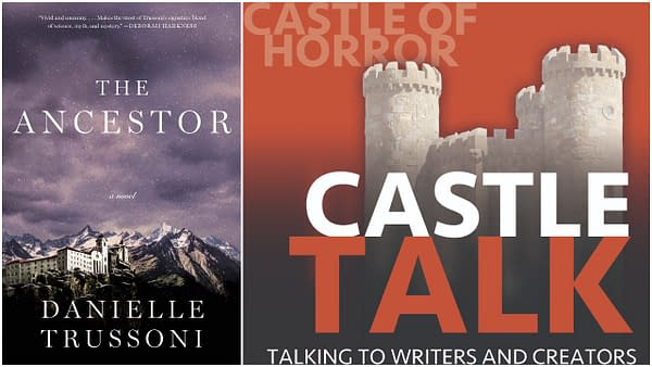 The cover of Danielle Trussoni's The Ancestor and the Castle Talk logo.