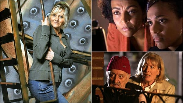 Camille Coduri, Adjoa Andoh, and Jacqueline King star in Doctor Who, courtesy of BBC Studios.