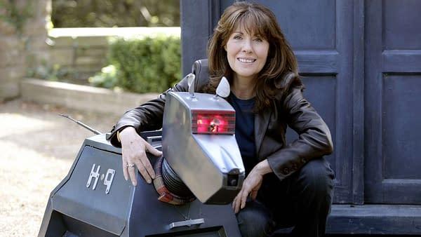 Sarah Jane and K-9 await where the TARDIS will take them next, courtesy of BBC America.