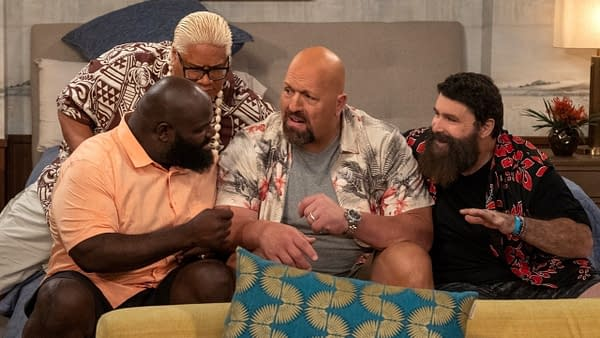 Big Show goes to Mick Foley, Rikishi, and Mark Henry for family advice of The Big Show Show, courtesy of Netflix.