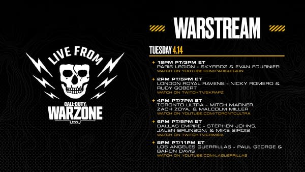 Check out the schedule of today's matches in Warzone with NHL and NBA players.