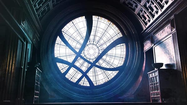 A virtual background of Doctor Strange's mansion for Zoom conferencing.