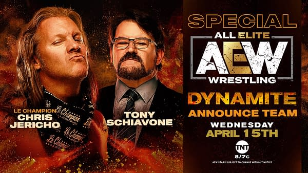 Chris Jericho and Tony Schiavone will once again provide commentary for AEW Dynamite, though Jim Ross will call the main event.