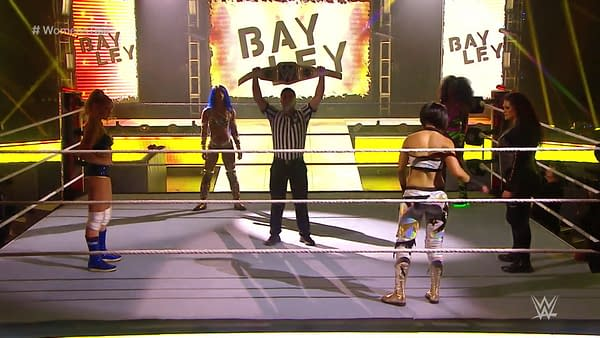 Bayley, Sasha Banks, Lacey Evans, Tamina, and Naomi competed for the Smackdown Women's Championship at WrestleMania 36.