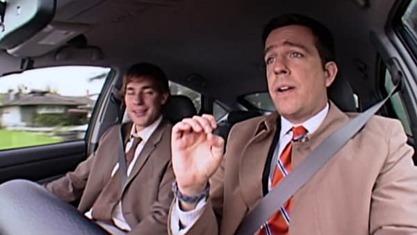 Andy and Jim harmonize on The Office, courtesy of NBC.